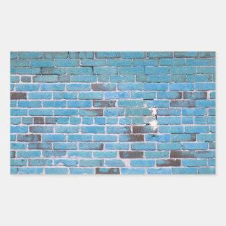 Sky Blue Vintage Brick Wall Texture Rectangle Sticker