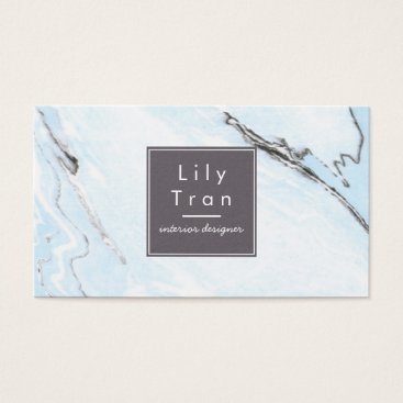 Professional Business Sky Blue Watercolor Marble Business Card