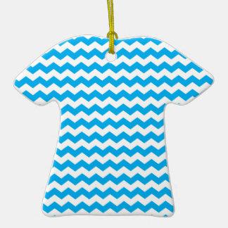 sky blue  white chevrons Double-Sided T-Shirt ceramic christmas ornament
