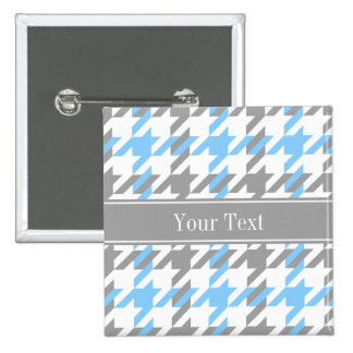 Sky Blue White Dk Gray Houndstooth Name Monogram 2 Inch Square Button