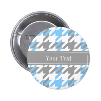 Sky Blue White Dk Gray Houndstooth Name Monogram 2 Inch Round Button