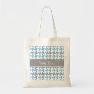 Sky Blue White Dk Gray Houndstooth Name Monogram Tote Bag