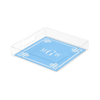 Sky Blue White Fancy Greek Key Frame 3I Monogram Acrylic Tray