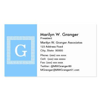 Sky Blue White Greek Key Frame 1 Initial Monogram Business Card