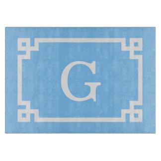 Sky Blue White Greek Key Frame 2 Initial Monogram