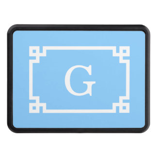 Sky Blue White Greek Key Frame #2 Initial Monogram Hitch Cover
