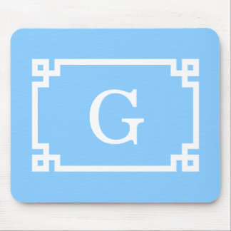 Sky Blue White Greek Key Frame #2 Initial Monogram Mouse Pad