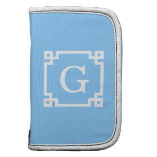 Sky Blue White Greek Key Frame #2 Initial Monogram Organizer