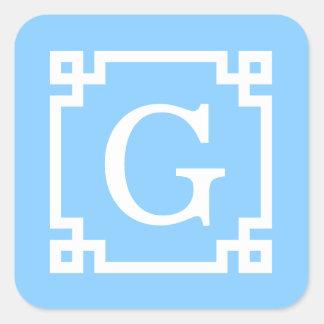 Sky Blue White Greek Key Frame #2 Initial Monogram Square Sticker