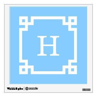 Sky Blue White Greek Key Frame #2 Initial Monogram Wall Decal