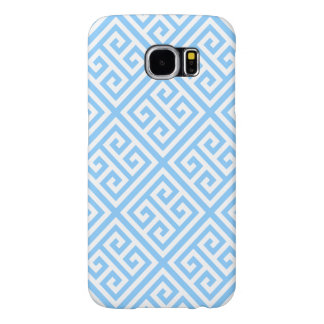 Sky Blue White Med Greek Key Diag T Pattern #1 Samsung Galaxy S6 Cases