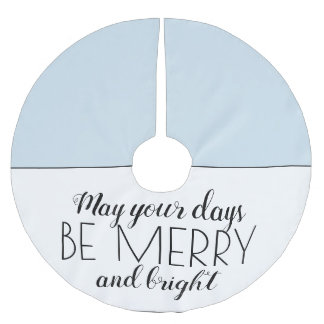 Sky Blue White Merry Bright Christmas Holiday Brushed Polyester Tree Skirt