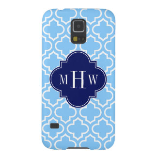 Sky Blue White Moroccan #6 Navy 3 Initial Monogram Galaxy S5 Case