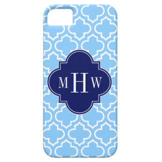 Sky Blue White Moroccan #6 Navy 3 Initial Monogram iPhone SE/5/5s Case