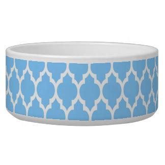 Sky Blue White Moroccan Quatrefoil Pattern #4 Pet Water Bowls