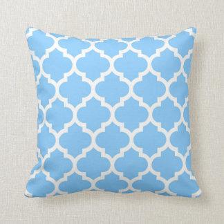 Sky Blue White Moroccan Quatrefoil Pattern #5 Pillow