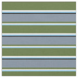 [ Thumbnail: Sky Blue, White, Olive Green, Slate Gray & Black Fabric ]