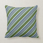 [ Thumbnail: Sky Blue, White, Olive Green, Slate Gray & Black Throw Pillow ]