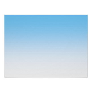 Sky Blue White Ombre Poster