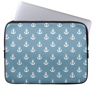 Sky Blue White Ships Anchors Pattern Laptop Computer Sleeves