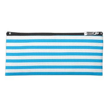 Beach Themed Sky Blue & White Stripes Pencil Case