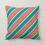 [ Thumbnail: Sky Blue, White, Teal, Red & Dark Green Colored Throw Pillow ]