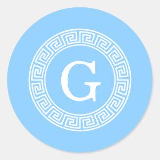 Sky Blue Wht Greek Key Rnd Frame Initial Monogram Classic Round Sticker