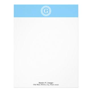 Sky Blue Wht Greek Key Rnd Frame Initial Monogram Letterhead
