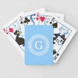 Sky Blue Wht Greek Key Rnd Frame Initial Monogram Bicycle Playing Cards