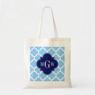 Sky Blue Wht Moroccan #5 Navy Blu 5c Name Monogram Bags