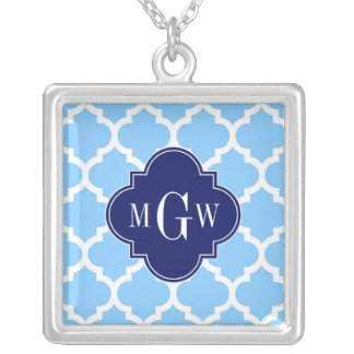 Sky Blue Wht Moroccan #5 Navy Blu 5c Name Monogram Square Pendant Necklace