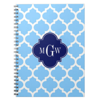 Sky Blue Wht Moroccan #5 Navy Blu 5c Name Monogram Notebook