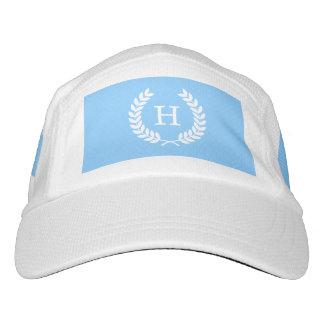 Sky Blue Wht Wheat Laurel Wreath Initial Monogram Headsweats Hat