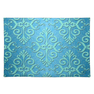 Sky Blue with Teal Fancy Damask Cloth Placemat
