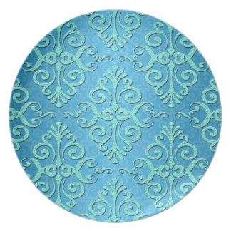 Sky Blue with Teal Fancy Damask Plate