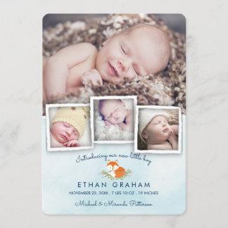 Sky Blue Woodland Fox Baby Boy Birth Announcement