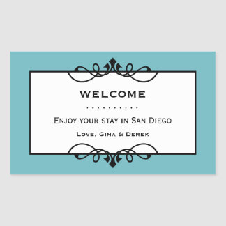 Sky blue wrought iron frame out of town gift bag rectangular sticker