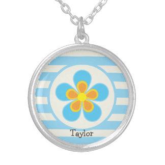 Sky Blue, Yellow, & Orange Flower; Stripes Round Pendant Necklace