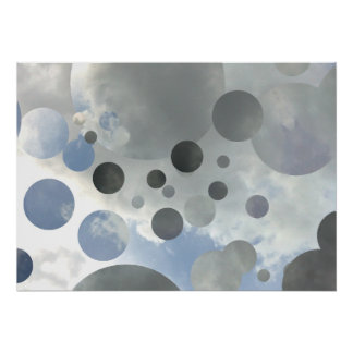 Sky Bubbles fragmented Graphic Design Poster