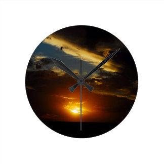 Sky Burst Of Light Round Wall Clocks