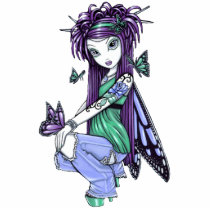 blue, rose, tattoo, butterfly, purple, big, eyed, gothic, cute, fantasy, fairy, faerie, fae, faery, fairies, magdalene, art, characters, Photo Sculpture with custom graphic design