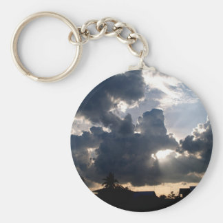 sky  cloud basic round button keychain