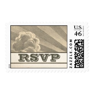 sky clouds and sun rays postage stamp for rsvp