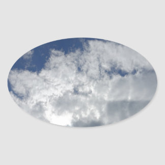 sky clouds oval sticker