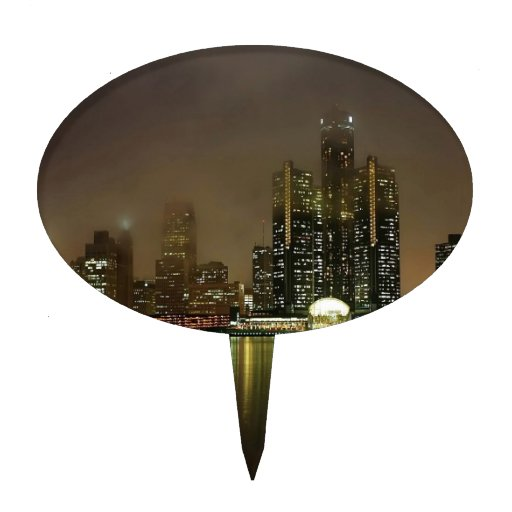 Sky Cloudy City Night Cake Topper