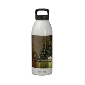 Sky Cloudy City Night Reusable Water Bottles
