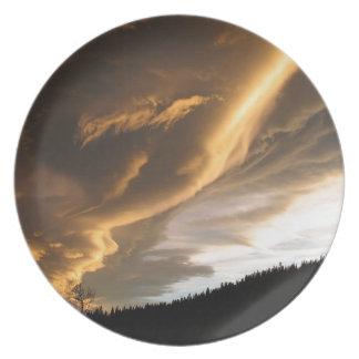 Sky Dark Trail Cloud Dinner Plate