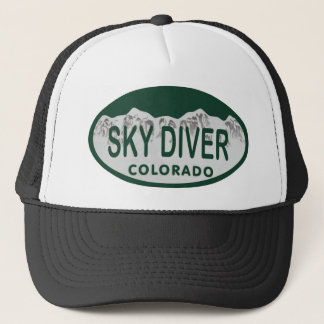 sky diver license oval trucker hat