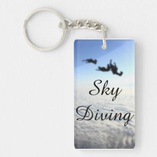 Sky Diving Blue Amazone Single-Sided Rectangular Acrylic Keychain
