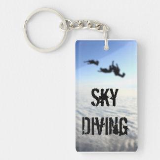 Sky Diving blue sky Single-Sided Rectangular Acrylic Keychain